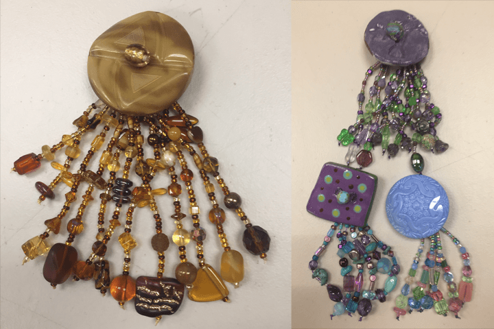 Button and Bead Fashion Pin